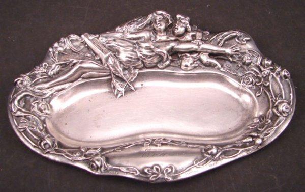 "2013: Sterling Silver Art Nouveau Tray. Monogrammed ""Ev"