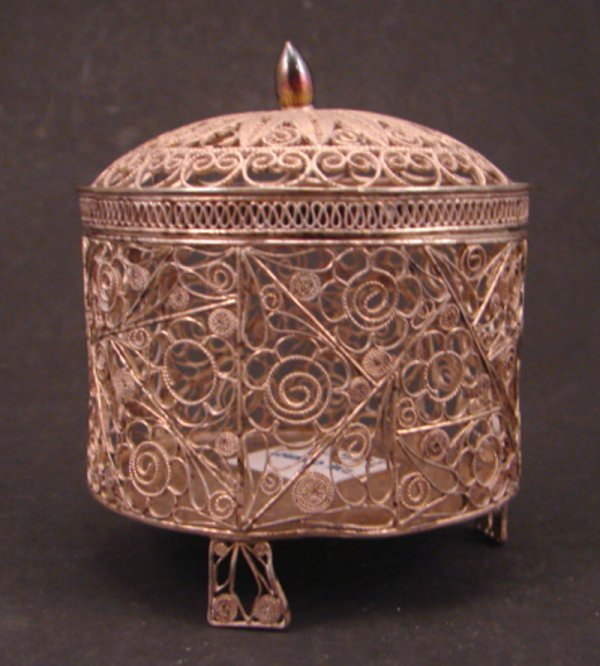 2023: Silver Filigree Box with Oriental characters on b