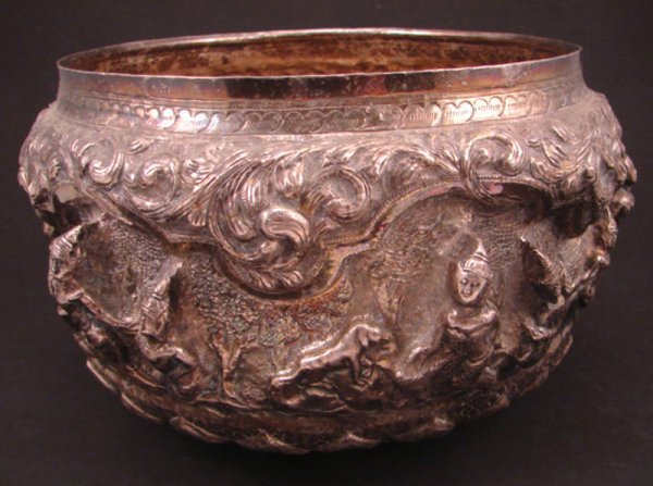 2024: Hand Wrought Asian Silver Center Bowl. quality of