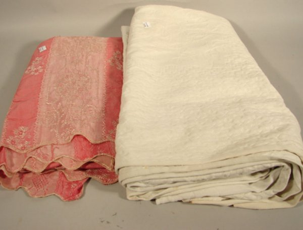"""2570: Two Cotton Bed Covers. White and pink. White 83"""""""
