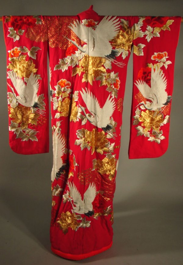 2455A: Wedding Kimono with Oo Birds and Blossoms