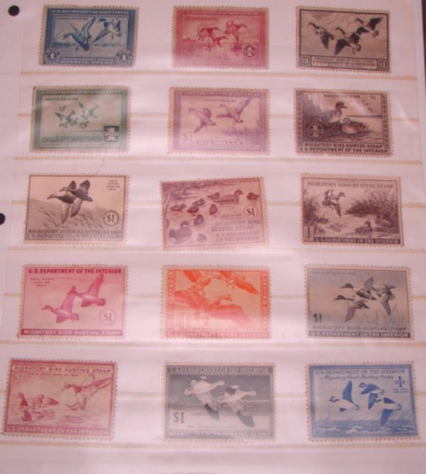 1001: Set of U.S. Duck Stamps-mint 1934-1948. All with