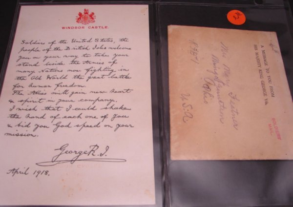 1002: Wartime Cover from 1918 signed by King George to