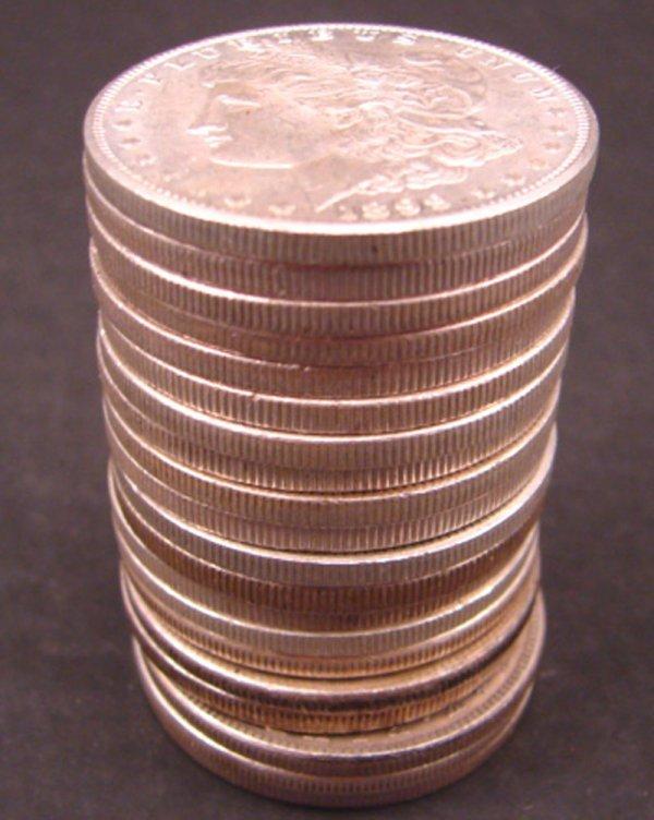 1222: Twenty U.S. Morgan Dollars. AU/BU
