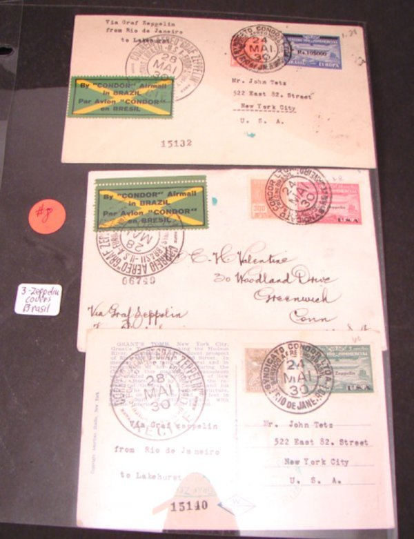 1008: Three Graf Zeppelin covers from Brazil.