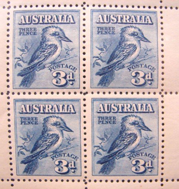 1009: Australia Scott's #95a pane of Four MNH