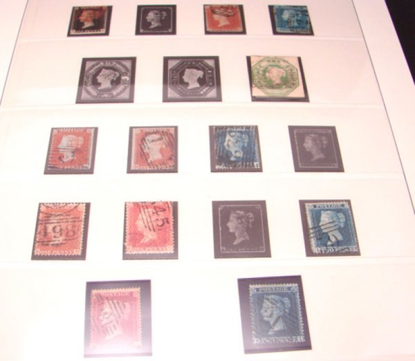 1011: Great Britain Stamp Album. Very nice early stamps