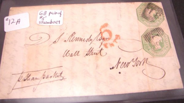 1012A: Great Britain Cover with a pair of #5's with whi