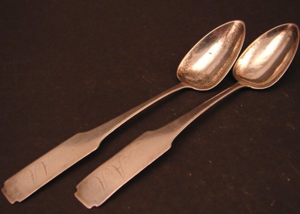 "1: Two ""J. Barton"" Signed Coin Silver Teaspoons. J. Bar"