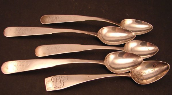 "2: Five ""J. Bedford"" Signed Coin Silver Teaspoons. Four"