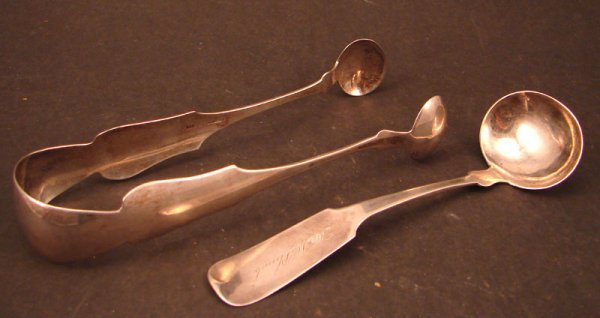 3: M & A Coin Silver including tongs and cream ladle. M