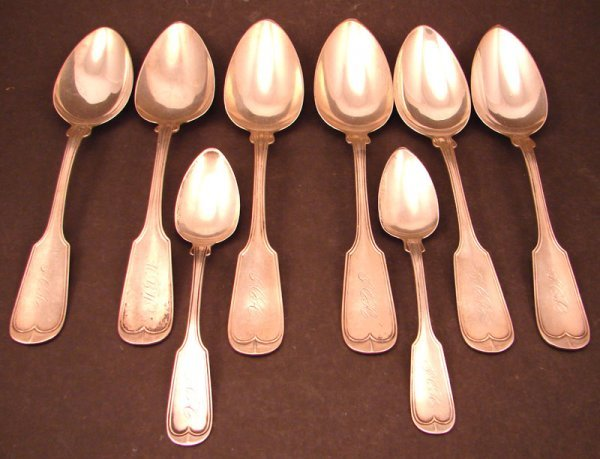 "12: Eight ""W & H"" Signed Coin Silver Spoons including s"