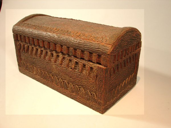"134: Rustic Bark Covered Dome Top Trunk. 15 1/2""h x 29"""