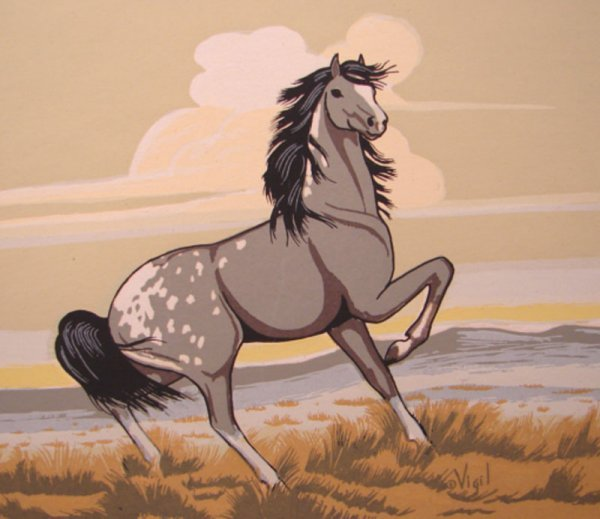 33: Vigil Signed Native American Art Work of horse. Cop