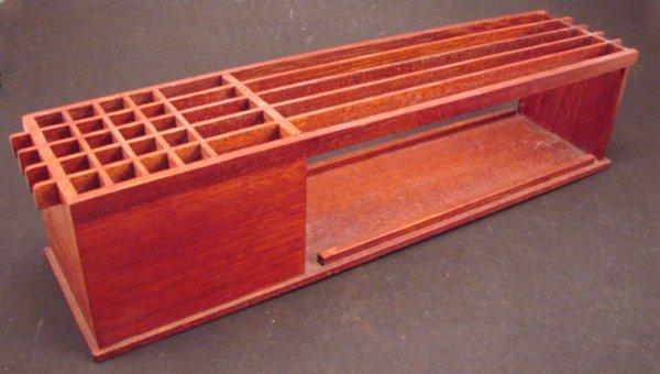 "1004: Vintage Teak Desk Organizer / Accessory. 3 1/2""h"