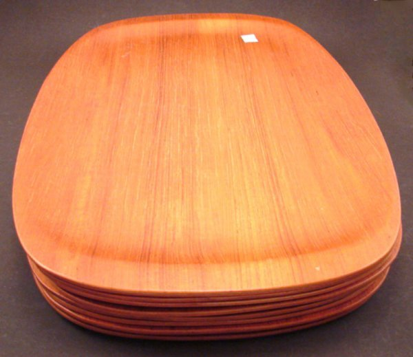 1007: Eight Vintage Teakwood Trays. Each approximately