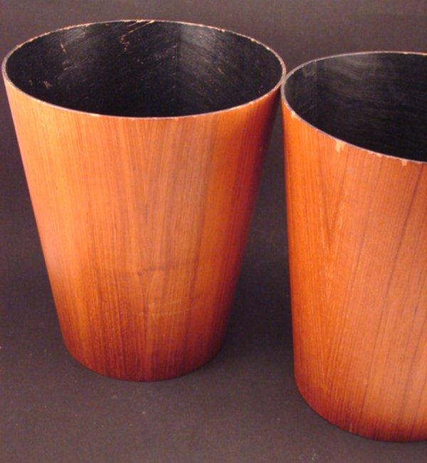 "1012: Two Contempo Teak Waste Baskets. Marked ""Contempo"