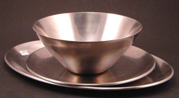 1014: Three Swedish Vintage Stainless Steel Serving Pie
