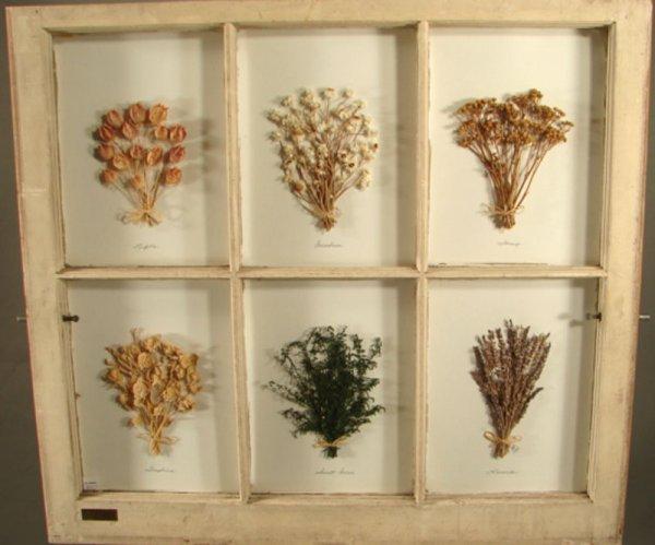 "1247: Six Pane Window with dried flower display. 28""h x"
