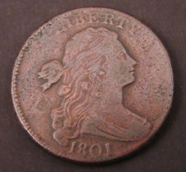 2201: 1801 Draped Bust Large Cent. VG+ with cud reverse