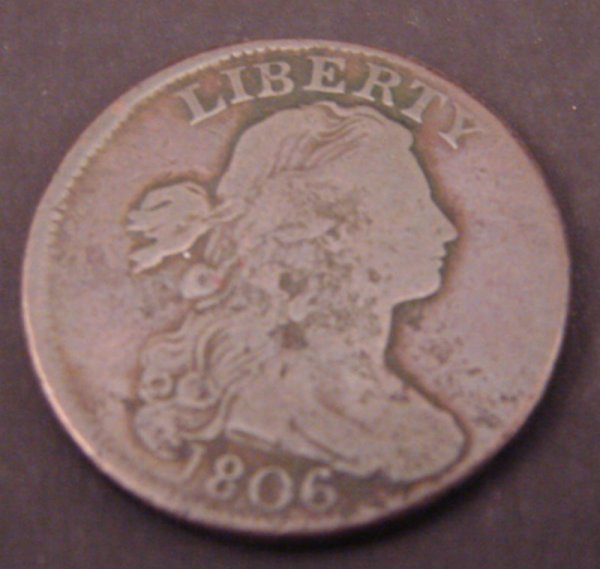 2202: 1806 Draped Bust Large Cent. VG one rim bump.