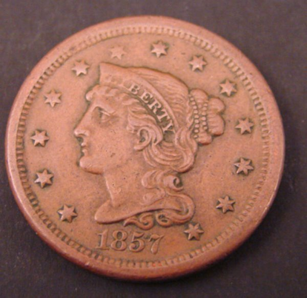 2205A: 1857 Large Cent. XF small date.