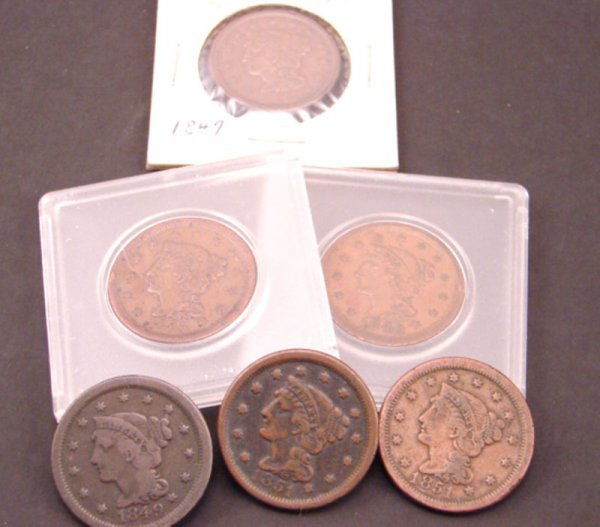 2206: Six Large Cents: 1847, 48, 49, 51, 51, 55. VG-XF