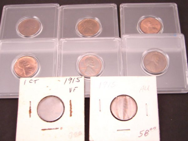 2220: Eight High Grade Lincoln Cents: 1909 VDB, 10, 11,