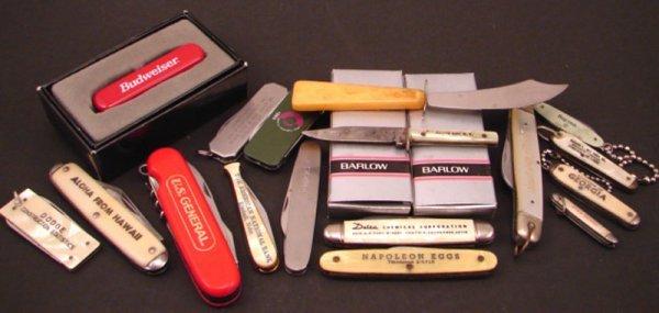 3020: Nineteen Assorted Advertising Pocket Knives inclu