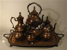 3304 Seven Piece Silver Plate on Copper Tea  Coffee S