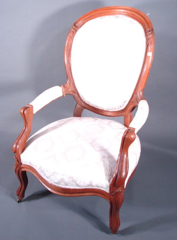 2: Victorian Walnut Parlor Gentleman's Chair with brass
