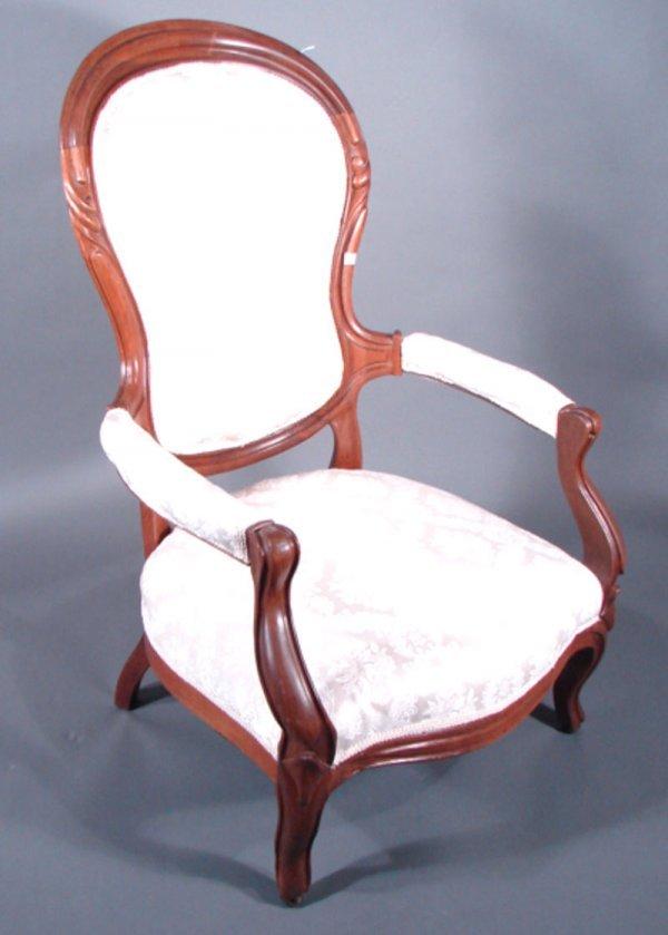 3: Victorian Walnut Parlor Gentleman's Chair. Professio