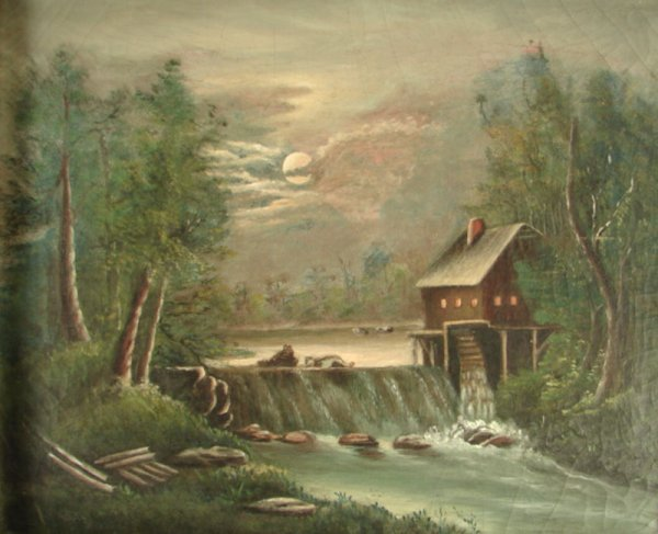 6: Hudson River School Oil painting on canvas. Old Mill
