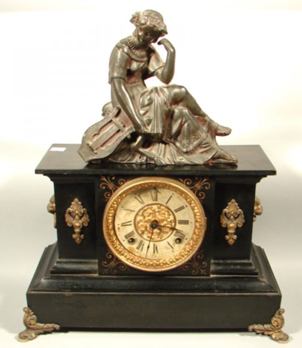 7: Ansonia Painted Iron Figural Mantle Clock. Classical