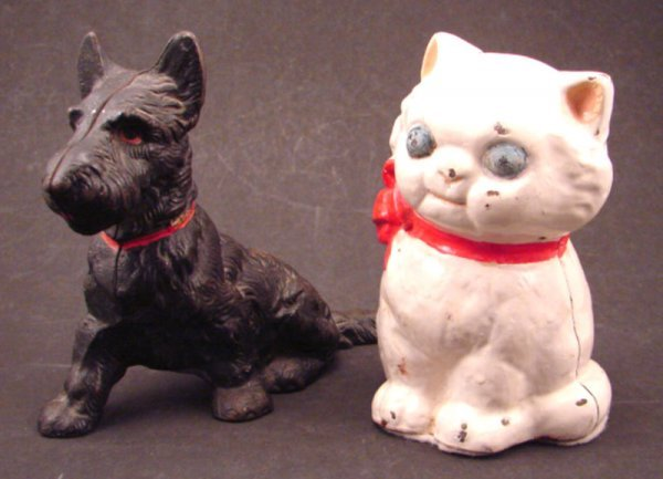 8: Two Cast Iron Figural Banks including white cat and