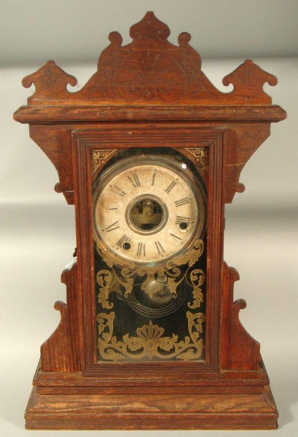 11: Gilbert Oak Kitchen Shelf Clock. Partial paper labe