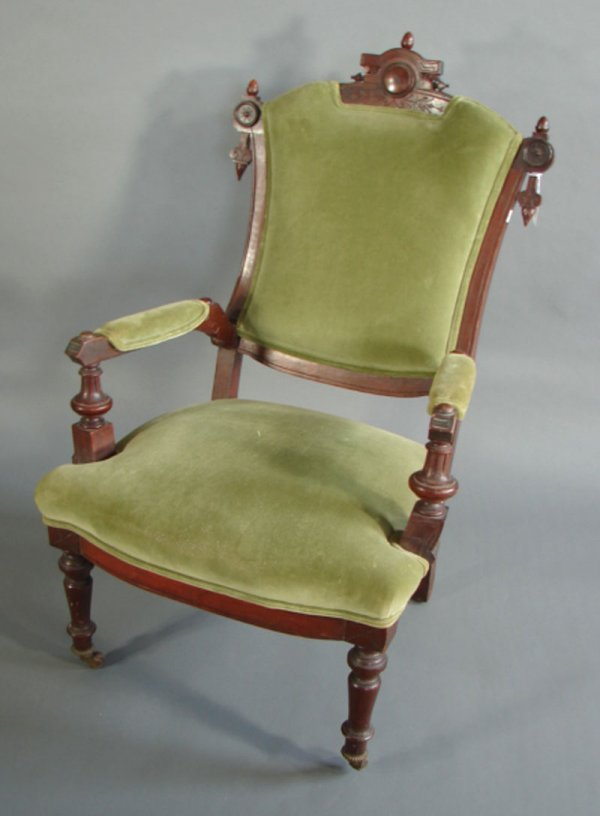 16: East Lake Victorian Parlor Chair with green upholst