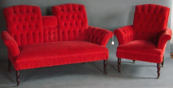 17: Unusual Upholstered Love Seat & Matching Arm Chair.