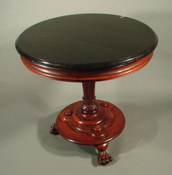 20: Victorian Carved Mahogany Center Table with faux eb