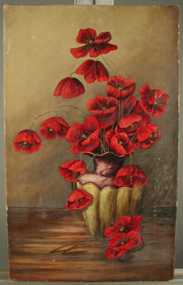 21: Victorian Oil on Canvas Painting, Poppies. Unframed