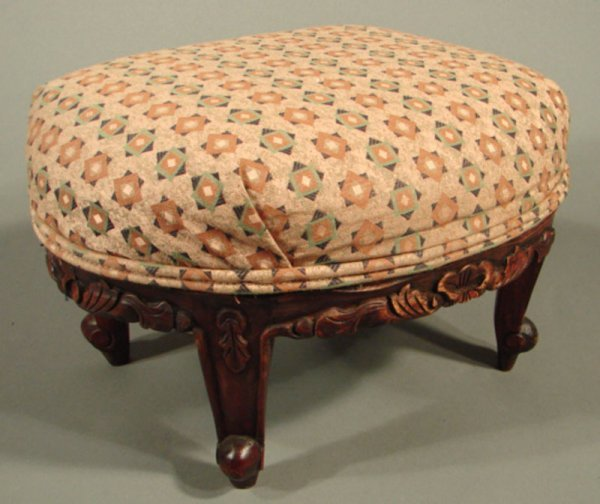 """23: Carved Footstool with upholstered top. 10""""h x 15"""" x"""