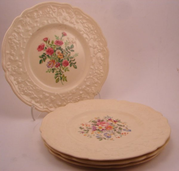 276: Five Johnson Bros Plates. Victorian pattern with v