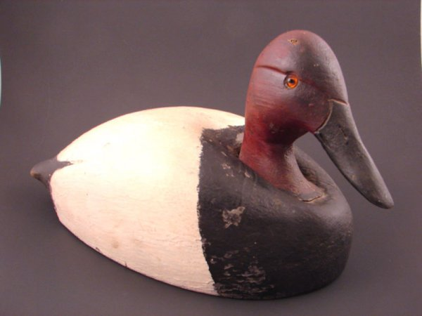 "901: Painted Duck Decoy. Ken Harris? 7""h x 12"" x 6"""