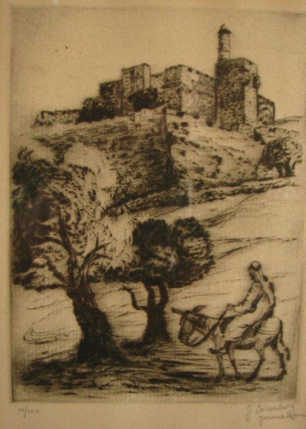 3023: J. Eisenberg pencil signed Print. Titled Jerusale