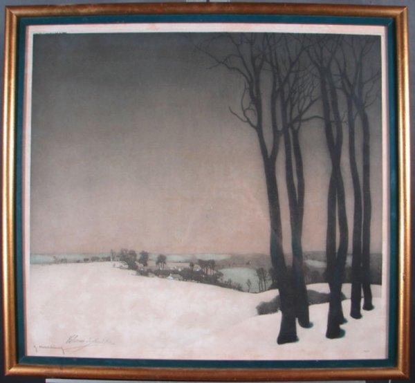 3025: Signed Print. Winter landscape