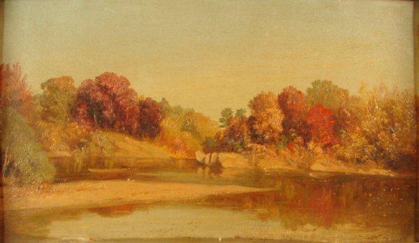 3100: John Williamson Hudson River Landscape Oil on art