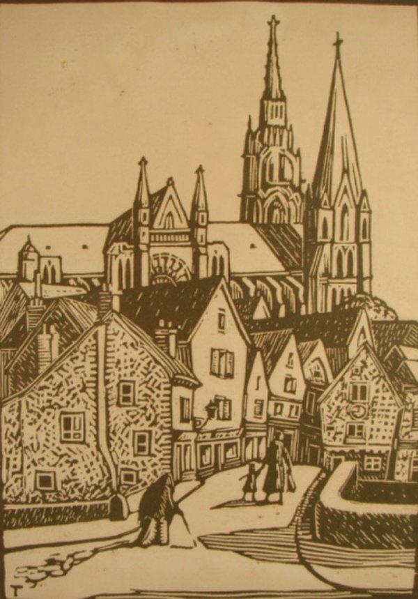 3013: Harry LeRoy Taskey Pencil Signed Wood Block Print