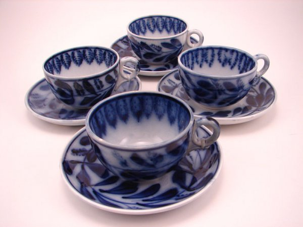 2001: Four Flow Blue Spinach pattern Tea cup and saucer