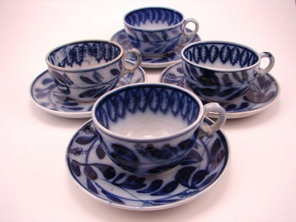 2003: Four Flow Blue Spinach pattern Tea cup and saucer