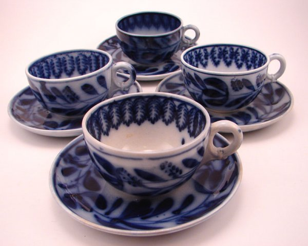 2005: Four Flow Blue Spinach pattern Tea cup and saucer